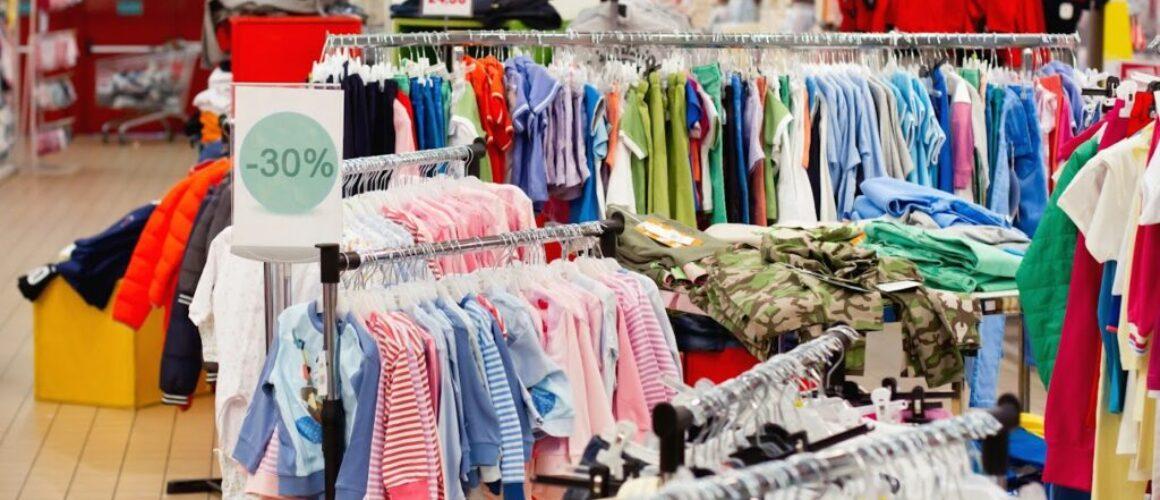 sale of children's wear in the supermarket